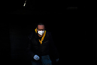 A man, wearing a mask, exits the subway<br /> Roma 24/04/2020 <br /> City lockdown as a measure to contrast the covid-19 coronavirus pandemic <br /> Photo Andrea Staccioli Insidefoto
