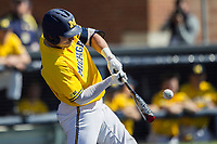Michigan Wolverines catcher Harrison Wenson (7) swings the bat against the Illinois Fighting Illini during the NCAA baseball game on April 8, 2017 at Ray Fisher Stadium in Ann Arbor, Michigan. Michigan defeated Illinois 7-0. (Andrew Woolley/Four Seam Images)