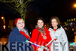 Imelda Murphy, Cllr Aoife Thornton and Eileen McCarthy enjoying the turning on of the Christmas lights in Listowel on Sunday evening.