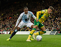 Blackburn Rovers' Amari'i Bell (left) battles with Norwich City's Max Aarons (right)<br /> <br /> Photographer David Horton/CameraSport<br /> <br /> The EFL Sky Bet Championship - Norwich City v Blackburn Rovers - Saturday 27th April 2019 - Carrow Road - Norwich<br /> <br /> World Copyright © 2019 CameraSport. All rights reserved. 43 Linden Ave. Countesthorpe. Leicester. England. LE8 5PG - Tel: +44 (0) 116 277 4147 - admin@camerasport.com - www.camerasport.com