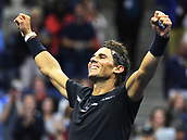 8th September 2017, Flushing Meadows, New York, USA;   Rafael Nadal (ESP) reacts after winning his men's singles semi-final match at the US Open on September 08, 2017 at the Billie Jean King National Tennis Center in Flushing Meadow, NY.
