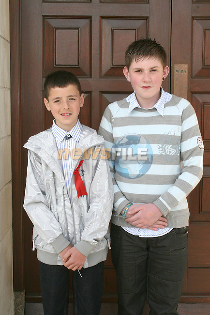 Reece Garry and Caolan McKenna at the St Joseph's Confirmation...Photo NEWSFILE/Jenny Matthews.(Photo credit should read Jenny Matthews/NEWSFILE)....This Picture has been sent you under the condtions enclosed by:.Newsfile Ltd..The Studio,.Millmount Abbey,.Drogheda,.Co Meath..Ireland..Tel: +353(0)41-9871240.Fax: +353(0)41-9871260.GSM: +353(0)86-2500958.email: pictures@newsfile.ie.www.newsfile.ie.FTP: 193.120.102.198.