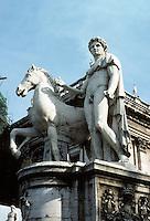 Italy: Rome--one of the Dioscuri. Sculpture at Campidoglio. Photo '82.