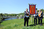 Jack Leetch, Blaine Bailey and Johnny Stewart pictured with the new banner created by Johnny at the Orange Order march at Oldbridge. Photo: Colin Bell/pressphotos.ie