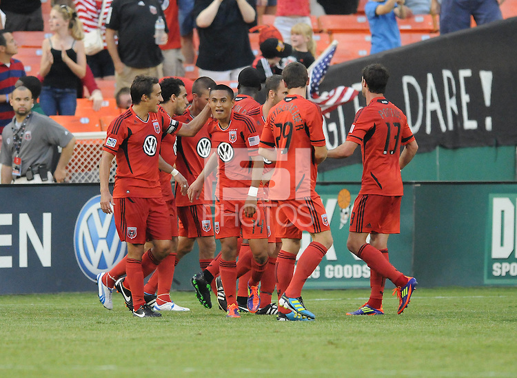 DC United midfielder Andy Najar (14) celebrates his score with teammates in the 58th minute of the game.  Philadelphia Union tied DC United 2-2, at RFK Stadium, Saturday July 2, 2011.