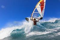 Laurent Guillemin (FRA) windsurfing in Ho'okipa Beach Park (Maui, Hawaii, USA)
