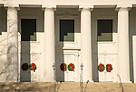 First Congregational Church, Madison, CT with Christmas wreaths
