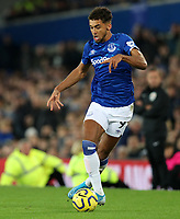 23rd  November 2019; Goodison Park , Liverpool, Merseyside, England; English Premier League Football, Everton versus Norwich City; Dominic Calvert-Lewin of Everton  controls the ball in a wide position - Strictly Editorial Use Only. No use with unauthorized audio, video, data, fixture lists, club/league logos or 'live' services. Online in-match use limited to 120 images, no video emulation. No use in betting, games or single club/league/player publications