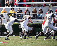 The Georgia Bulldogs beat the App State Mountaineers 45-6 in their homecoming game.  After a close first half, UGA scored 31 unanswered points in the second half.  Appalachian State Mountaineers quarterback Kameron Bryant (5) pitches the ball to Appalachian State Mountaineers running back Marcus Cox (14)