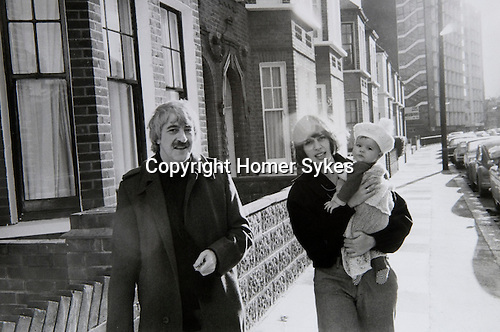 Kenneth and Deborah MacMillian and new baby Charlotte outside their house in Wandsworth south west London.  1973. At this time MacMillian was working on Manon a three-act ballet as artistic director of the Royal Ballet.