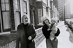 Kenneth and Deborah MacMillan and new baby Charlotte outside their house in Wandsworth south west London.  1973. At this time MacMillan was working on Manon a three-act ballet as artistic director of the Royal Ballet.