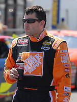 Apr 28, 2007; Talladega, AL, USA; Nascar Nextel Cup Series driver Tony Stewart (20)during qualifying for the Aarons 499 at Talladega Superspeedway. Mandatory Credit: Mark J. Rebilas