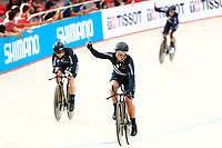 Picture by Alex Whitehead/SWpix.com - 09/12/2017 - Cycling - UCI Track Cycling World Cup Santiago - Velódromo de Peñalolén, Santiago, Chile - New Zealand's Racquel Sheath, Bryony Botha, Rushlee Buchanan and Kirstie James win Gold in the Women's Team Pursuit final.