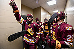ST PAUL, MN - APRIL 7: Nick Swaney #23 of the Minnesota-Duluth Bulldogs prepares to take the ice with teammates prior to the Division I Men's Ice Hockey Championship held at the Xcel Energy Center on April 7, 2018 in St Paul, Minnesota. (Photo by Tim Nwachukwu/NCAA Photos via Getty Images)