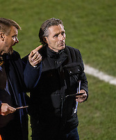 Wycombe Wanderers Manager Gareth Ainsworth & Chairman Andrew Howard discuss the seating as the Manager serves a one match touchline ban for the Sky Bet League 2 match between Colchester United and Wycombe Wanderers at the Weston Homes Community Stadium, Colchester, England on 21 February 2017. Photo by Andy Rowland / PRiME Media Images.