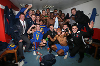 Maldon players celebrate victory in the changing room during Leyton Orient vs Maldon & Tiptree, Emirates FA Cup Football at The Breyer Group Stadium on 10th November 2019