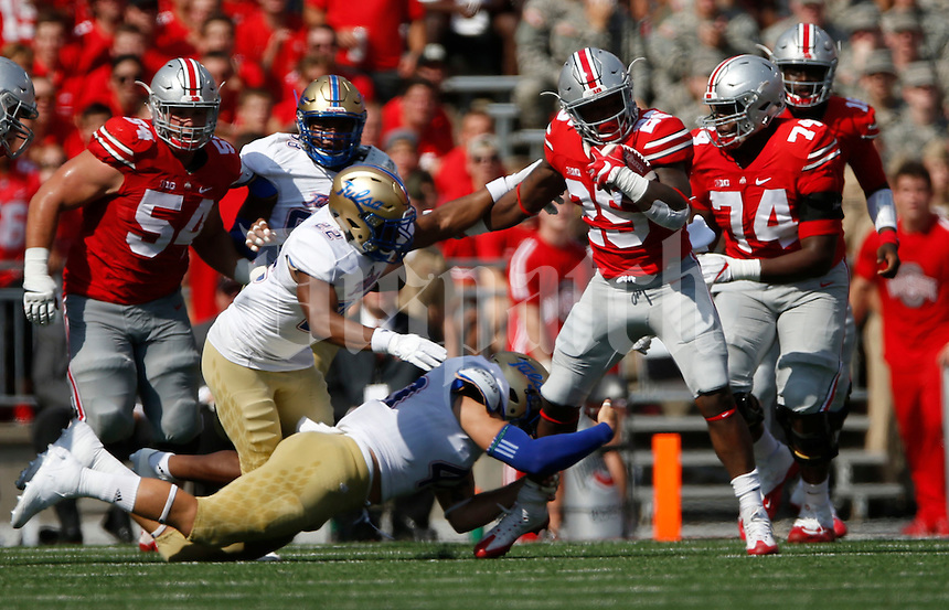 Ohio State Buckeyes running back Mike Weber (25) in action   during an NCAA football game between the Ohio State Buckeyes and the Tulsa Golden Hurricane at Ohio Stadium on Saturday, September 10, 2016. (Columbus Dispatch photo by Fred Squillante)