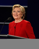 Former United States Secretary of State Hillary Clinton, the Democratic Party nominee for President of the US makes a point as she appears in the first of three presidential general election debates with businessman Donald J. Trump, the Republican Party nominee for President of the US at Hofstra University in Hempstead, New York on Monday, September 26, 2016.<br /> Credit: Ron Sachs / CNP<br /> (RESTRICTION: NO New York or New Jersey Newspapers or newspapers within a 75 mile radius of New York City)