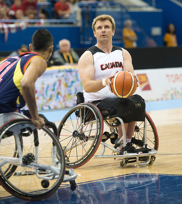 TORONTO, ON, AUGUST 8, 2015. Wheelchair Basketball -  CAN 102-27VEN in men's action - Bo Hedges.<br /> Photo: Dan Galbraith/Canadian Paralympic Committee