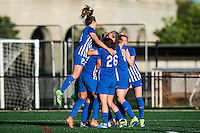 Allston, MA - Sunday, May 22, 2016: Boston Breakers defender Whitney Engen (4) celebrates scoring with teammates during a regular season National Women's Soccer League (NWSL) match at Jordan Field.