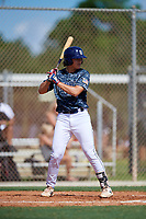 Caleb Cali during the WWBA World Championship at the Roger Dean Complex on October 18, 2018 in Jupiter, Florida.  Caleb Cali is a third baseman from Montverde, Florida who attends Montverde Academy and is committed to Florida State.  (Mike Janes/Four Seam Images)