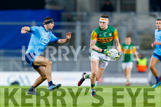 Seán O'Shea, Kerry in action against Paul Mannion, Dublin during the Allianz Football League Division 1 Round 1 match between Dublin and Kerry at Croke Park on Saturday.