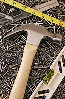 Hammer, nails and tools