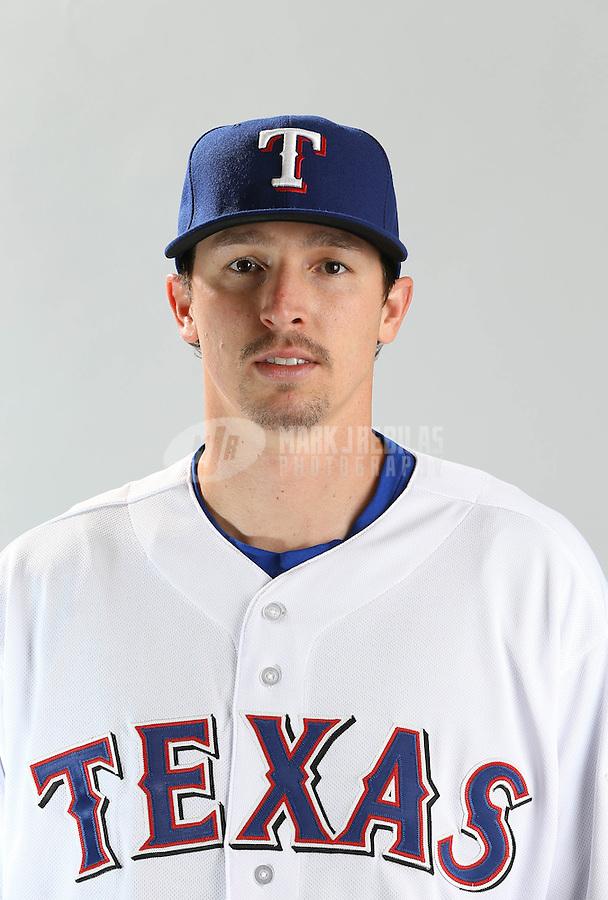Feb. 20, 2013; Surprise, AZ, USA: Texas Rangers pitcher Tanner Scheppers poses for a portrait during photo day at Surprise Stadium. Mandatory Credit: Mark J. Rebilas-