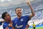 31.08.2019, VELTINS-Arena, Gelsenkirchen, GER, DFL, 1. BL, FC Schalke 04 vs Hertha BSC, DFL regulations prohibit any use of photographs as image sequences and/or quasi-video<br /> <br /> im Bild Guido Burgstaller (#19, FC Schalke 04) jubelt nach seinem Tor zum 2:0 mit Weston Mc Kennie (#2, FC Schalke 04) <br /> <br /> Foto © nordphoto/Mauelshagen