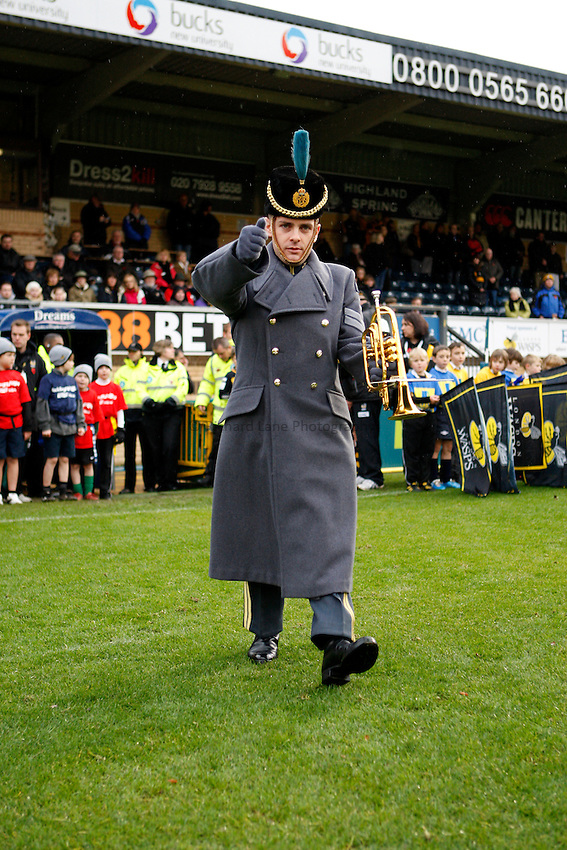 Photo: Richard Lane/Richard Lane Photography. London Wasps v Bath Rugby. LV=Cup. 14/11/2010. RAF bugler.