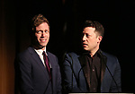 Barrett Foa and John Tartaglia on stage at the Vineyard Theatre 2017 Gala at the Edison Ballroom on March 14, 2017 in New York City.