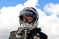 Jan. 16, 2013; Jupiter, FL, USA: NHRA top fuel dragster driver Shawn Langdon during testing at the PRO Winter Warmup at Palm Beach International Raceway.  Mandatory Credit: Mark J. Rebilas-