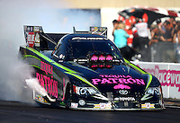 Oct 5, 2013; Mohnton, PA, USA; NHRA funny car driver Alexis DeJoria during qualifying for the Auto Plus Nationals at Maple Grove Raceway. Mandatory Credit: Mark J. Rebilas-