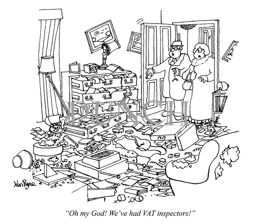 """""""Oh my God! We've had VAT inspectors!"""" (a couple enter their ransacked appartment)"""