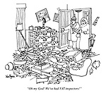 """Oh my God! We've had VAT inspectors!"" (a couple enter their ransacked appartment)"