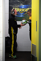 Hurricanes team manager Tony Ward hands the matchball to TJ Perenara before the Super Rugby match between the Hurricanes and Crusaders at Westpac Stadium in Wellington, New Zealand on Saturday, 15 July 2017. Photo: Dave Lintott / lintottphoto.co.nz