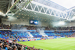 Stockholm 2015-05-25 Fotboll Allsvenskan Djurg&aring;rdens IF - AIK :  <br /> Djurg&aring;rdens supportrar med ett tifo i Tele2 Arena inf&ouml;r matchen mellan Djurg&aring;rdens IF och AIK <br /> (Foto: Kenta J&ouml;nsson) Nyckelord:  Fotboll Allsvenskan Djurg&aring;rden DIF Tele2 Arena AIK Gnaget supporter fans publik supporters inomhus interi&ouml;r interior