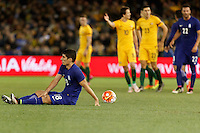 June 7, 2016: PETROS MANTALOS (18) of Greece is fouled during an international friendly match between the Australian Socceroos and Greece at Etihad Stadium, Melbourne. Photo Sydney Low