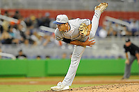 7 March 2012:  FIU pitcher John Caballero (45) pitches as the Miami Marlins defeated the FIU Golden Panthers, 5-1, at Marlins Park in Miami, Florida.