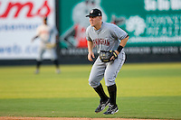 Second baseman C.J. Retherford #10 of the Birmingham Barons on defense versus the Carolina Mudcats at Five County Stadium August 15, 2009 in Zebulon, North Carolina. (Photo by Brian Westerholt / Four Seam Images)