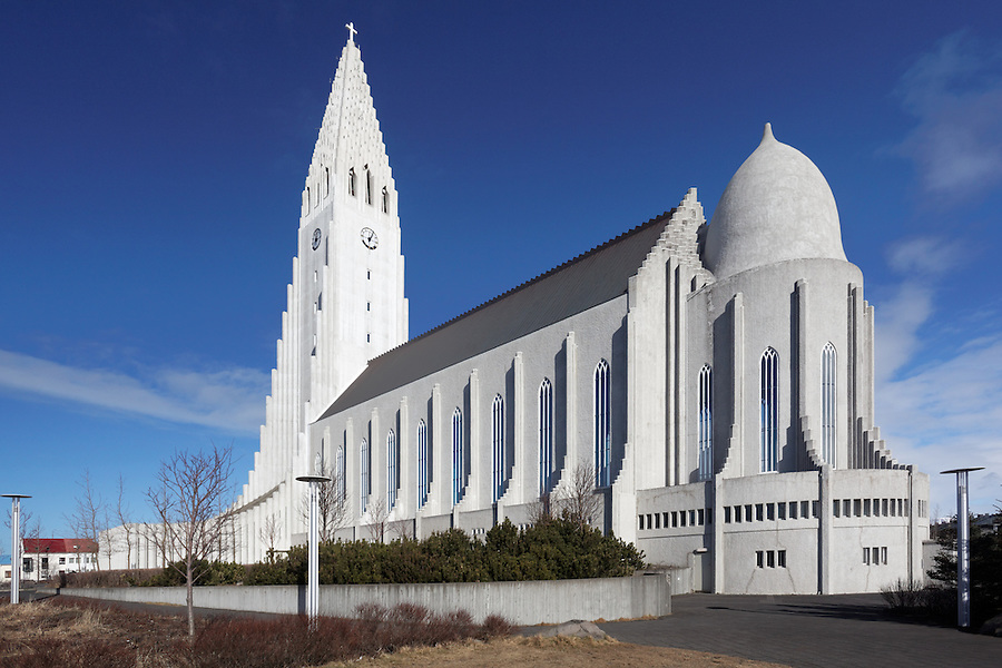 Back side of Hallgrimskirkja church, Reykjavik, Iceland