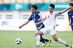(L to R) <br />  Koji Miyoshi (JPN), <br /> Pham Duc Huy (VIE), <br /> AUGUST 19, 2018 - Football / Soccer : <br /> Men's Group D match <br /> between Japan 0-1 Vietnam <br /> at Wibawa Mukti Stadium <br /> during the 2018 Jakarta Palembang Asian Games <br /> in Cikarang, Indonesia. <br /> (Photo by Naoki Morita/AFLO SPORT)