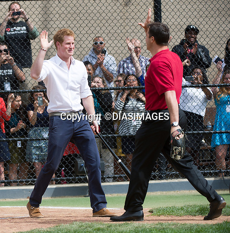 "PRINCE HARRY AND MARK TEIXEIRA.at the Harlem RBI a baseball program for inner cities..The Prince was shown round by Yankees first baseman Mark Teixeira and had a game with the kids_14/05/2013.Prince Harry is on a week long USA visit the includes Washington, Denver, Colorado Springs, New Jersey, New York and Conneticut..Mandatory credit photo:©DIASIMAGES..NO UK USE UNTIL 13/6/2013.(Failure to credit will incur a surcharge of 100% of reproduction fees)..**ALL FEES PAYABLE TO: ""NEWSPIX  INTERNATIONAL""**..Newspix International, 31 Chinnery Hill, Bishop's Stortford, ENGLAND CM23 3PS.Tel:+441279 324672.Fax: +441279656877.Mobile:  07775681153.e-mail: info@newspixinternational.co.uk"