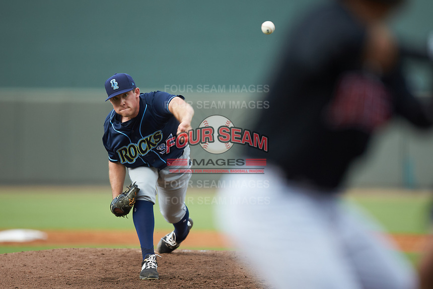 Wilmington Blue Rocks starting pitcher Kris Bubic (37) delivers a pitch to the plate against the Winston-Salem Warthogs at BB&T Ballpark on July 17, 2019 in Winston-Salem, North Carolina. The Blue Rocks defeated the Warthogs 4-1. (Brian Westerholt/Four Seam Images)