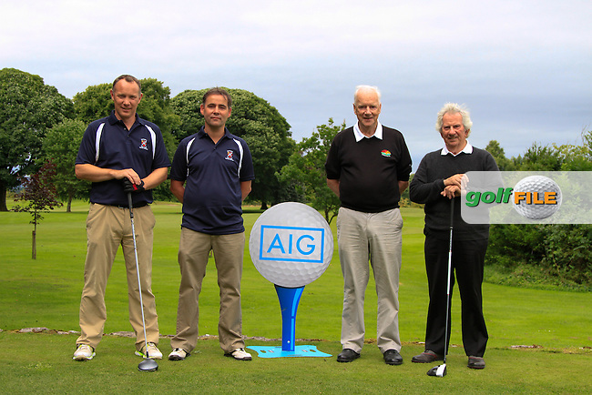 Pat Waldron &amp; John Kelly (Castlebar) and Jim Bowe &amp; Jim Rickard (Enniscrone) on the 1st tee during the AIG Connacht Pierce Purcell Shield Semi-Finals of the AIG Connacht Cups &amp; Shields Finals 2016 at Ballinrobe Golf Club, Ballinrobe Co. Mayo on Saturday 6th August 2016.<br /> Picture:  Golffile | Thos Caffrey<br /> <br /> All photos usage must carry mandatory copyright credit   (&copy; Golffile | Thos Caffrey)