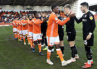 Blackpool players greet the Barnsley players ahead of kick-off<br /> <br /> Photographer Rich Linley/CameraSport<br /> <br /> The EFL Sky Bet League One - Blackpool v Barnsley - Saturday 22nd December 2018 - Bloomfield Road - Blackpool<br /> <br /> World Copyright &copy; 2018 CameraSport. All rights reserved. 43 Linden Ave. Countesthorpe. Leicester. England. LE8 5PG - Tel: +44 (0) 116 277 4147 - admin@camerasport.com - www.camerasport.com