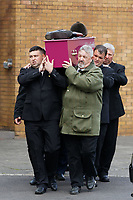 "Pictured: Pallbearers carry the coffin of Bradley John to a horse drawn carriage at Aberavon Beach Hotel, Wales, UK. Monday 08 October 218<br /> Re: A grieving father will mourners on horseback at the funeral of his ""wonderful"" son who killed himself after being bullied at school.<br /> Talented young horse rider Bradley John, 14, was found hanged in the school toilets by his younger sister Danielle.<br /> Their father, farmer Byron John, 53, asked the local riding community to wear their smart hunting gear at Bradley's funeral.<br /> Police are investigating Bradley's death at the 500-pupils St John Lloyd Roman Catholic school in Llanelli, South Wales.<br /> Bradley's family claim he had been bullied for two years after being diagnosed with Attention Deficit Hyperactivity Disorder.<br /> He went missing during lessons and was found in the toilet cubicle by his sister Danielle, 12."