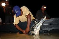 AUTORIZADO PELO IBAMA  O ABATE DE 200 JACARÉS EM MAMIRAUÁ - O Ibama autorizou o abate de 200 jacarés para desenvolvimento de manejo do réptil em Mamirauá. As comunidades da RDS querem trabalhar com o manejo do jacaré como já fazem com o pirarucu gerando renda para os pescadores.Mamirauá, Tefé,  Amazonas,  BrasilFoto Paulo Santos02/12/2004