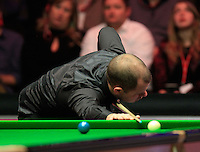 Barry Hawkins looks away after a mis-cue during the Dafabet Masters FINAL between Barry Hawkins and Ronnie O'Sullivan at Alexandra Palace, London, England on 17 January 2016. Photo by Liam Smith / PRiME Media Images