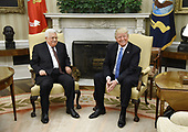 United States President Donald J Trump meets with President Mahmoud Abbas of the Palestinian Authority in the Oval Office of the White House in Washington, DC, on May 3, 2017. <br /> Credit: Olivier Douliery / Pool via CNP